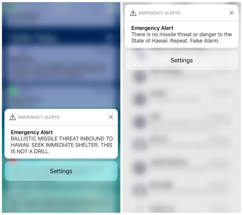 A combination photograph shows screenshots from a cell phone displaying an alert for a ballistic missile launch and the subsequent false alarm message in Hawaii Jan. 13, 2018. Photo by Hugh Gentry/Reuters