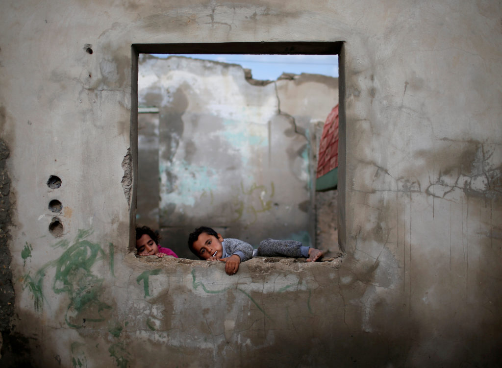 Palestinian children play at their family's house in Al-Shati refugee camp in Gaza City on Jan. 15, 2018. Photo by Mohammed Salem/Reuters
