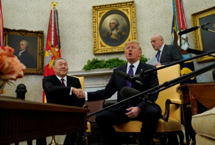U.S. President Donald Trump meets with Kazakhstan President Nursultan Nazarbayev in the Oval Office of the White House in Washington, U.S., January 16, 2018. REUTERS/Kevin Lamarque - RC1D6AF055C0