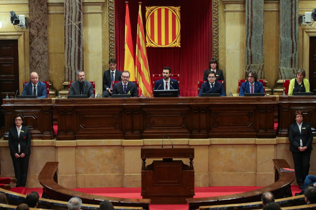 Roger Torrent (center), new speaker of Catalan parliament, delivers a speech during the first session of parliament after regional elections in Barcelona, Spain, on Jan. 17. Photo by Albert Gea/Reuters