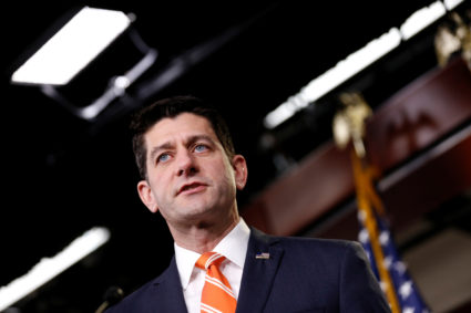 Speaker of the House Paul Ryan (R-Wisc.) speaks during a news conference after a House Republican caucus meeting on Capitol Hill in Washington, D.C. Photo by Joshua Roberts/Reuters