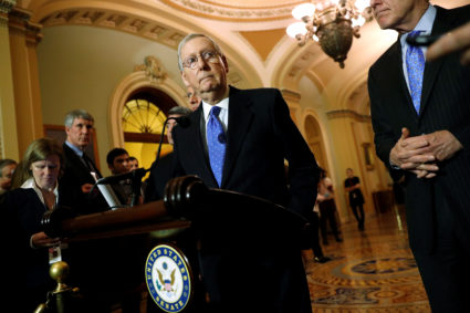 Senate Majority Leader Mitch McConnell (R-KY) delivers remarks to reporters after the weekly Republican caucus luncheon at the U.S. Capitol in Washington, D.C. Photo by Jonathan Ernst/Reuters