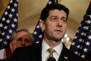 House Speaker Paul Ryan (R-Wisc.) speaks at a news conference with Republican leaders on Capitol Hill in Washington, D.C. Photo by Yuri Gripas/Reuters