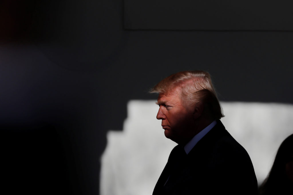 President Donald Trump prepares to address the annual March for Life rally, taking place on the National Mall, from the Wh...