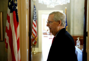 Senate Majority Leader Mitch McConnell (R-KY) walks from the Senate floor after President Donald Trump and the U.S. Congress failed to reach a deal on funding for federal agencies on Capitol Hill in Washington, U.S., January 20, 2018. Photo by Joshua Roberts/Reuters