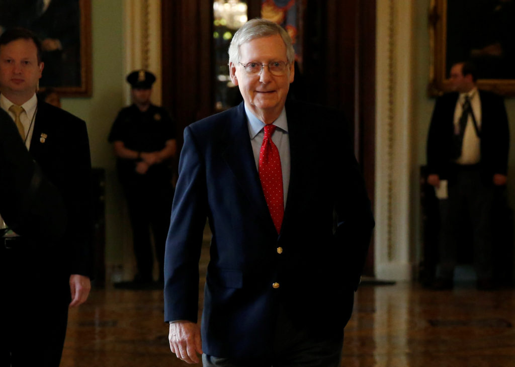 Senate Majority Leader Mitch McConnell (R-KY) walks from the Senate floor after President Donald Trump and the U.S. Congress failed to reach a deal on funding for federal agencies on Capitol Hill in Washington, U.S., January 20, 2018. REUTERS/Joshua Roberts - RC1963265CD0