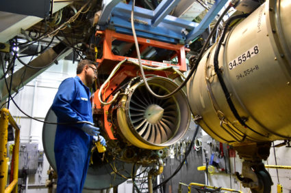FILE PHOTO: An aircraft engine is being tested at Honeywell Aerospace in Phoenix, Arizona, U.S. on September 6, 2016. REUTERS/Alwyn Scott/File Photo GLOBAL BUSINESS WEEK AHEAD. SEARCH GLOBAL BUSINESS 22 JAN FOR ALL IMAGES - RC122603FEA0