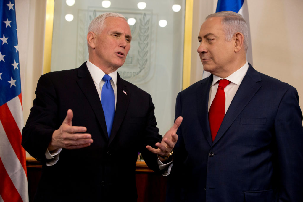 Vice President Mike Pence meets with Israeli Prime Minister Benjamin Netanyahu in Jerusalem on Jan. 22. Photo by Ariel Schalit/Pool via Reuters