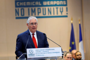 Secretary of State Rex Tillerson delivers a speech during a foreign ministers' meeting on the International Partnership against Impunity for the Use of Chemical Weapons, in Paris, France. Photo by Philippe Wojazer/Reuters