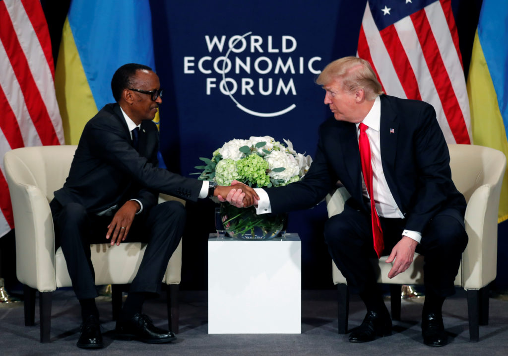 President Paul Kagame of Rwanda shakes hands with President Donald Trump during the World Economic Forum annual meeting in Davos, Switzerland on Jan. 26. Photo by Carlos Barria/Reuters