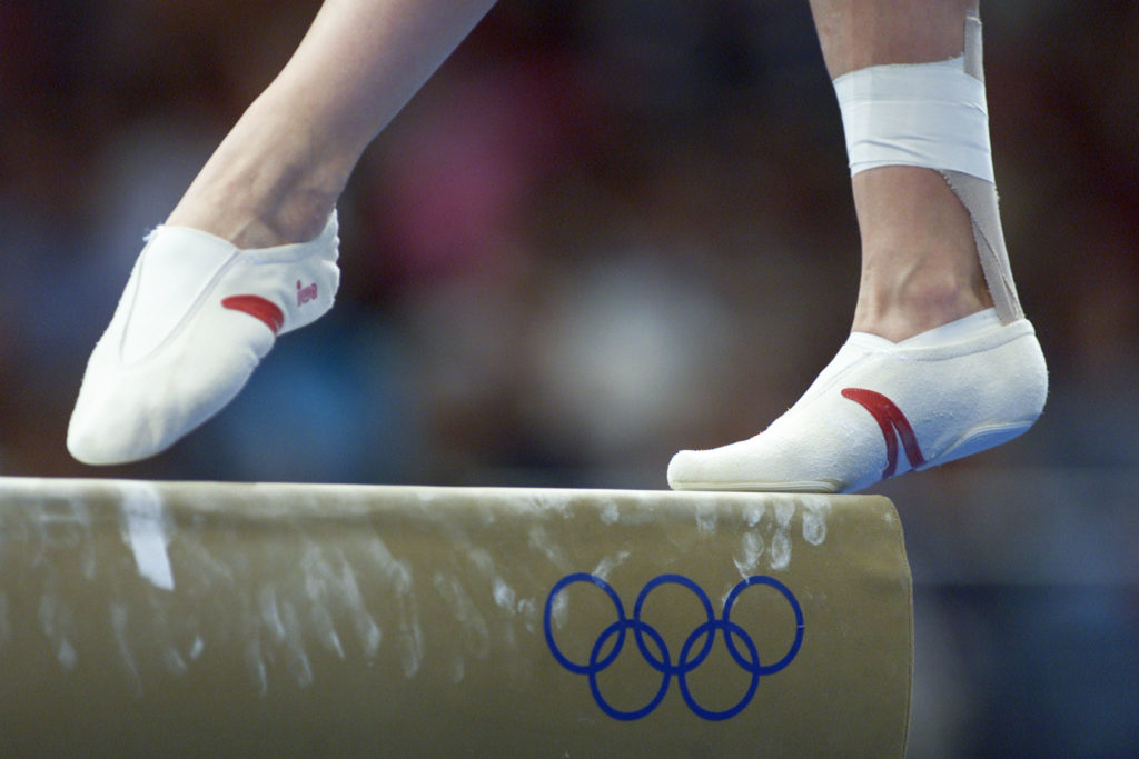 The feet of a Belarus gymnast walk the beam during a practice session at the Super Dome in Sydney's Olympic Park, September 14, 2000. Members of the women's gymnastic teams had their first chance to practice in the Olympic venue prior to the start of the Sydney 2000 Olympic Games. - PBEAHULHZCY