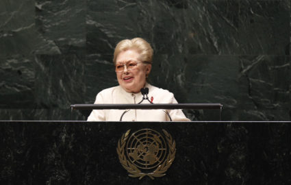Doctor Mathilde Krim, founding chairman of amfAR, addresses diplomats gathered in the UN General Assembly for the 2011 High Level Meeting on AIDS at UN Headquarters in New York June 8, 2011. REUTERS/Lucas Jackson (UNITED STATES - Tags: POLITICS HEALTH) - GM1E7681TMW02