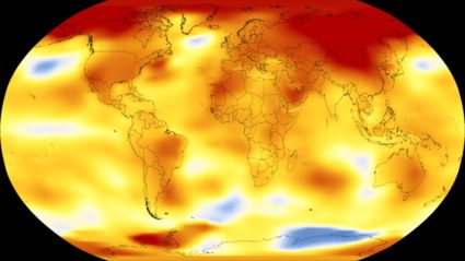 Higher than normal temperatures are shown in red and lower than normal temperatures are in blue. Photo by NASA