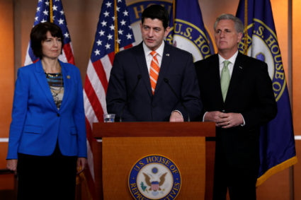 U.S. House Speaker Paul Ryan (R-WI), flanked by Representative Cathy McMorris Rodgers (R-WA) and Majority Leader Kevin McCarthy (R-CA), addresses reporters in Washington, U.S. January 17, 2018. REUTERS/Jonathan Ernst - RC1E22D523F0