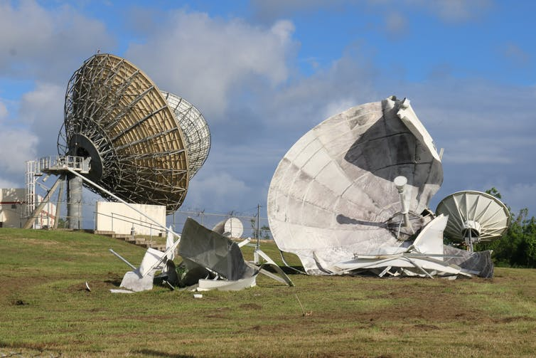 Destroyed communication satellite in Humacao, Puerto Rico. Photo by Dan Vineberg, CC BY 4.0