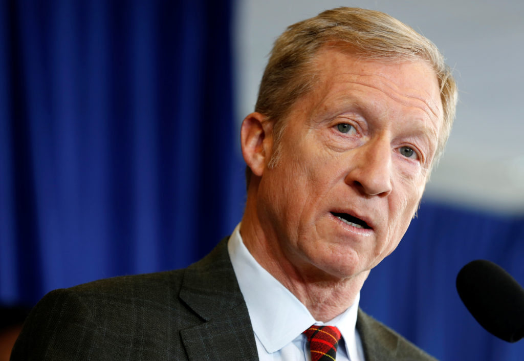 Tom Steyer, a hedge fund manager and a prominent Democratic fundraiser who has mounted a high-profile advertising campaign advocating the impeachment of U.S. President Donald Trump, holds a news conference to announce plans for his political future, in Washington, U.S., January 8, 2018. REUTERS/Joshua Roberts - RC1AA205B400
