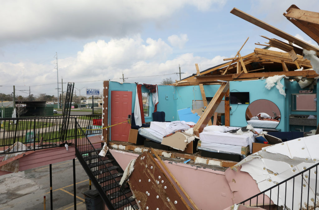 A hotel room at Jacks Motel on Chef Menteur New Orleans East is shown after the roof was torn off in the aftermath of a series of tornado left trees, power lines, homes and businesses leveled, in New Orleans, Louisiana, U.S., February 8, 2017.  REUTERS/Ben Depp - RC148BAF5020