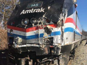 A photo posted to Twitter by Rep. Jeff Denham shows the front of the Amtrak train that crashed Wednesday on its way to West Virginia.