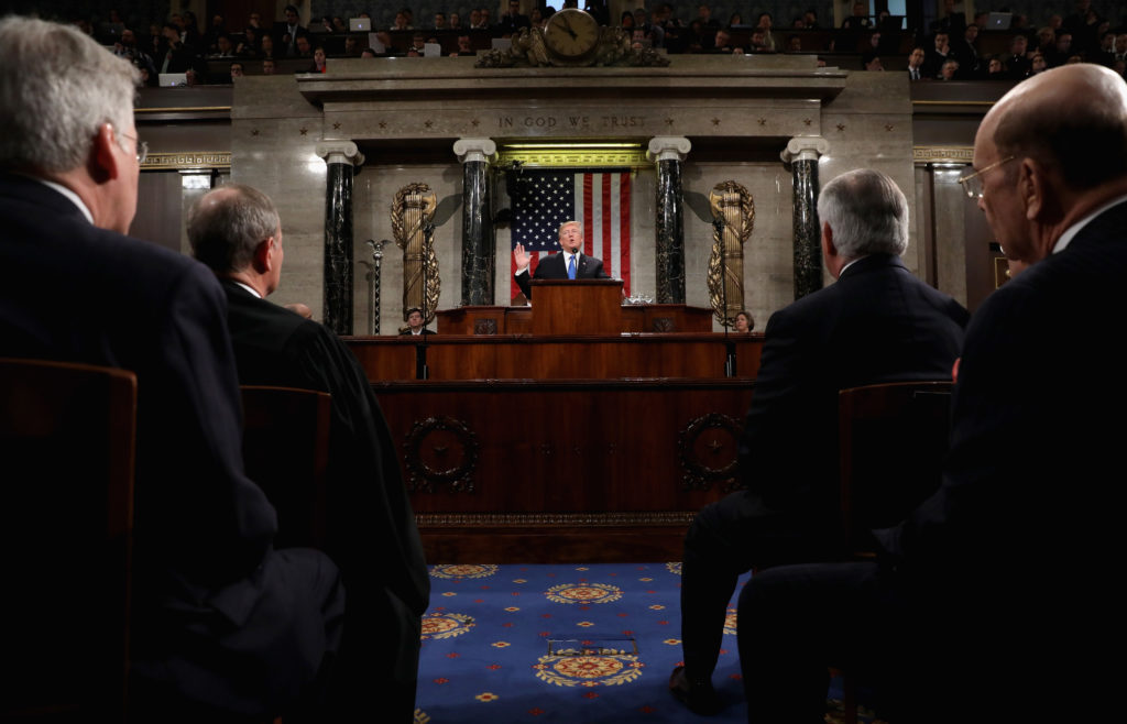 U.S. President Donald Trump delivers his first State of the Union address to a joint session of Congress inside the House ...