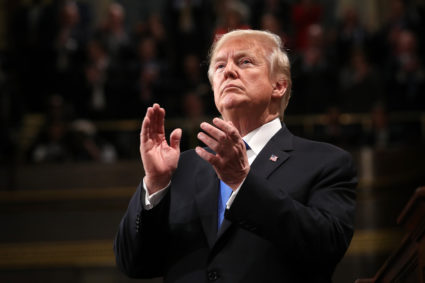 U.S. President Donald Trump delivers his first State of the Union address to a joint session of Congress inside the House Chamber on Capitol Hill in Washington, U.S., January 30, 2018. REUTERS/Win McNamee/Pool - HP1EE1V08HYWN
