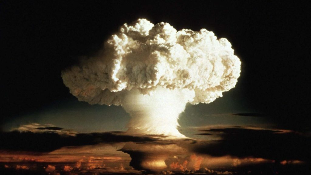"A photo of a hydrogen bomb test appears on the CDC website announcing grand rounds: ""Public Health Response to a Nuclear Detonation."" Photo via STAT"