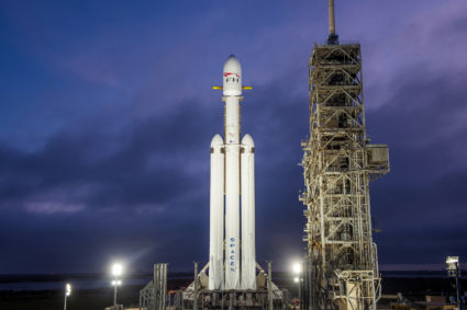 Falcon Heavy prepares for launch. Photo by SpaceX
