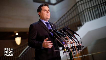 Florida Rep. Matt Gaetz talks at a news briefing Friday on the House Intelligence Committee's decision to release a memo alleging that the FBI abused its surveillance powers during the Russia investigation.
