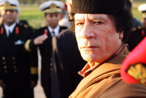 Libyan leader Moammar Gadhafi in Tripoli in 2004. Photo by Pascal Le Segretain/Getty Images