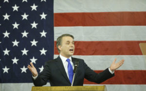 Kansas Gov. Jeff Colyer delivers a speech after his swearing on Jan. 31, 2018, becoming the 47th governor of Kansas. Photo by Bo Rader/Wichita Eagle/TNS via Getty Images