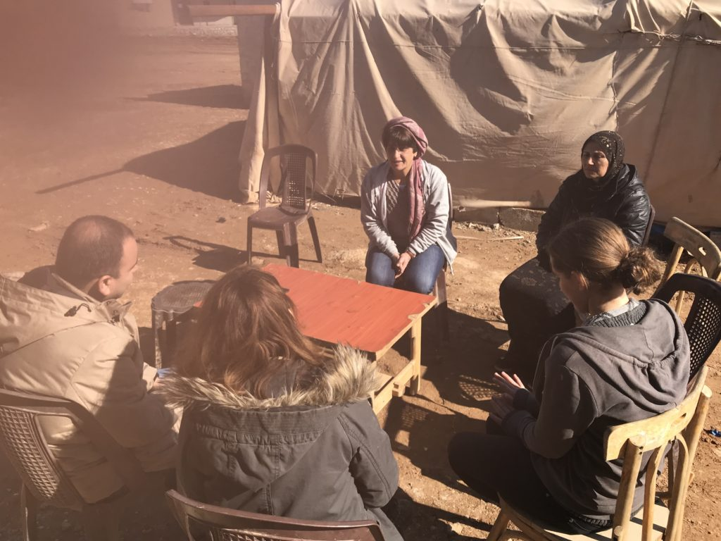 Gayle Tzemach Lemmon interviews members of a women's cooperative outside the town of Amudah Syria