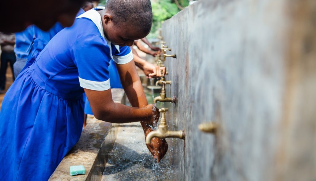 After getting new water facilities at their secondary school in the district of Blantyre, Malawi, the students formed a committee to encourage proper use of the new facilities and to promote good hygiene practices. Photo courtesy of Water For People