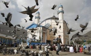 Pigeons fly as a policeman guards residents praying outside the Shah-e Doh Shamshira mosque during the first day of the Muslim holiday of Eid-al-Fitr in Kabul on Aug. 30, 2011. Photo by Erik de Castro/Reuters
