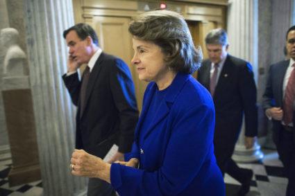 U.S. Senator Dianne Feinstein arrives for a procedural vote on defense spending authorization legislation at the U.S. Capitol in Washington