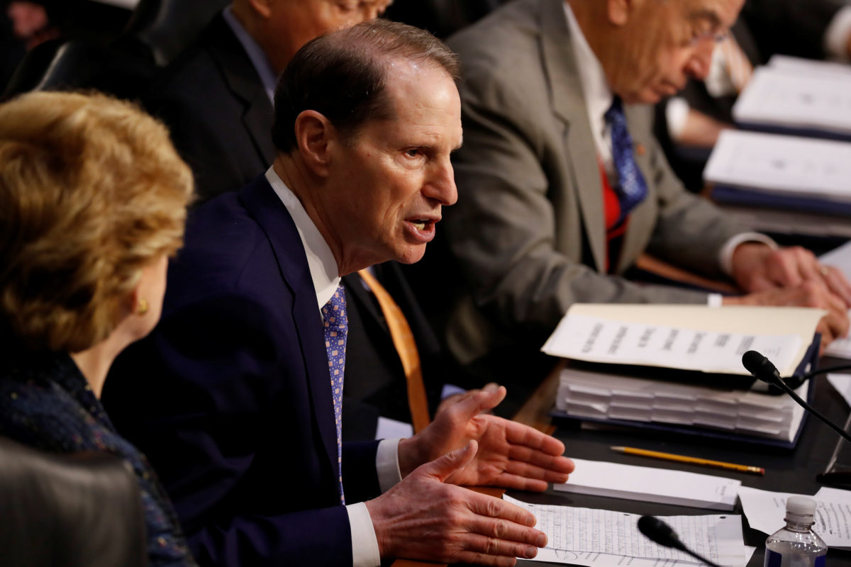 """Sen. Ron Wyden (D-OR) speaks during a markup on the """"Tax Cuts and Jobs Act"""" on Capitol Hill in Washington, U.S., November 15, 2017. Photo by Aaron P. Bernstein/Reuters"""