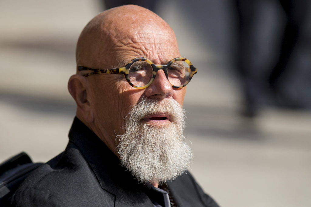 """Artist and photographer Chuck Close arrives for """"The Late Show with Stephen Colbert"""" at the Ed Sullivan Theater in Manhatt..."""