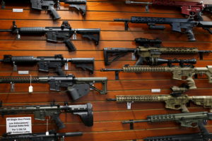 "Firearms are shown for sale at the AO Sword gun store in El Cajon, California, January 5, 2016. President Barack Obama said on Monday his new executive actions to tighten gun rules were ""well within"" his legal authority and consistent with the U.S. right to bear arms, a warning to opponents who are likely to challenge them in court. REUTERS/Mike Blake"