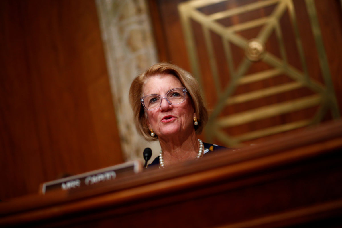 Sen. Shelly Moore Capito, R-W.Va., speaks at a Senate hearing on July 26, 2017. Photo by Eric Thayer/Reuters