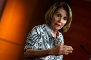 House Minority Leader Nancy Pelosi (D-Calif.) speaks at a weekly press conference on Capitol Hill in Washington, D.C. Photo by Yuri Gripas/Reuters