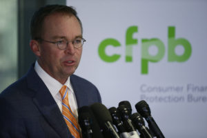 Mick Mulvaney, the acting director of the U.S. Consumer Financial Protection Bureau (CFPB), speaks on November 27, 2017. The CFPB announced Wednesday that it plans to get rid of most of its consumer protections governing payday lenders. Joshua Roberts/Reuters
