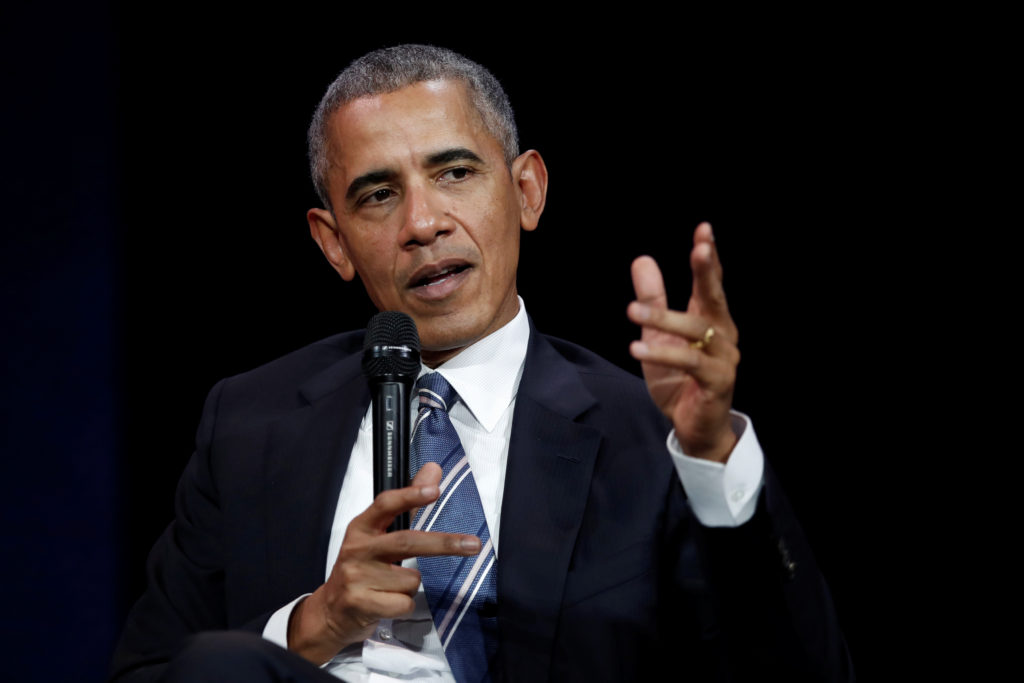 Former president Barack Obama speaks at a 2017 conference during his first visit to France since he left the White House. ...