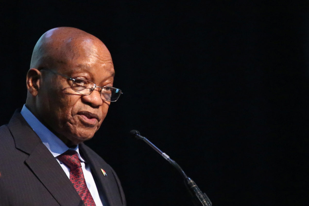 South African President Jacob Zuma speaks at a conference on Dec. 7, 2017. Photo by Siphiwe Sibeko/Reuters