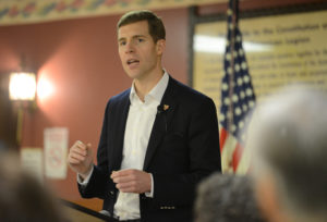 Conor Lamb delivers a speech at his campaign rally in Houston, Pennsylvania, on January 13, 2018. Photo by Alan Freed/Reuters