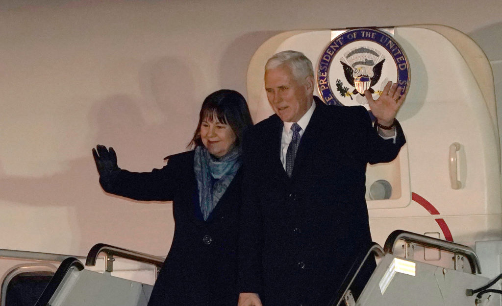 Vice President Mike Pence and his wife Karen wave upon his arrival at Yokota Air Base on the outskirts of Tokyo. Photo by Shizuo Kambayashi/Reuters