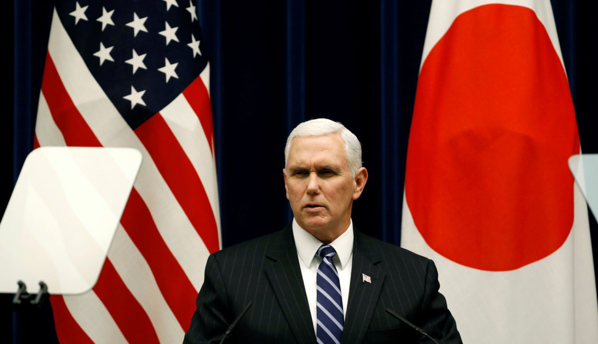 Vice President Mike Pence attends a joint announcement with Japan's Prime Minister Shinzo Abe after their meeting at Abe's official residence in Tokyo. Photo by Toru Hanai/Reuters