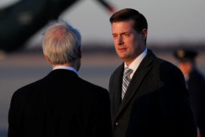 White House Staff Secretary Rob Porter arrives with U.S. President Donald Trump and first lady Melania Trump aboard Air Force One at Joint Base Andrews, Maryland, on Feb. 5, 2018. Photo by Jonathan Ernst/Reuters