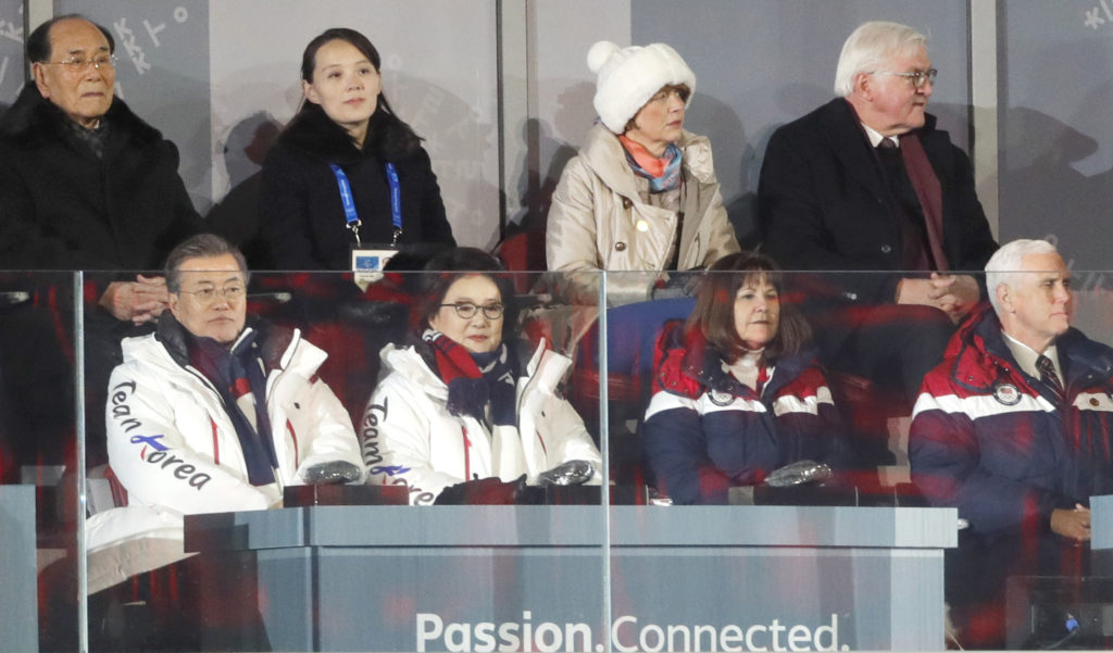 Vice President Mike Pence (right) sits with South Korean President Moon Jae-in, his wife Kim Jung-Sook, and President of the Presidium of the Supreme People's Assembly of North Korea Kim Young Nam (upper left) and Kim Yo-Jong, the sister of North Korean leader Kim Jong-un during the opening ceremony of the 2018 Winter Olympics on Feb. 9. Photo by Kim Kyung-Hoon/Reuters