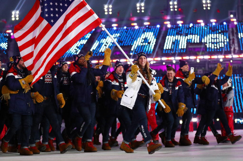 Luger Erin Hamlin carries the U.S. flag at the Pyeongchang 2018 Olympic Winter Games opening ceremony on Feb. 9. Photo by Rob Schumacher-USA TODAY Sports via Reuters