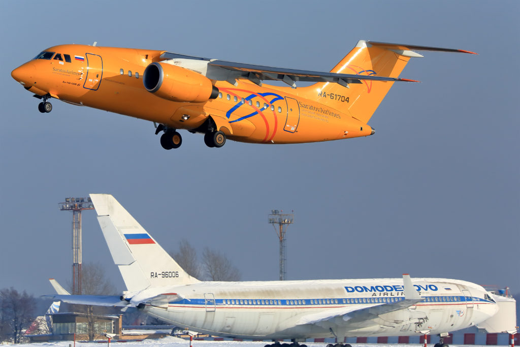 A Saratov Airlines Antonov AN-148 plane takes off from the Domodedovo airport outside Moscow, Russia February 1, 2018. Picture taken February 1, 2018. REUTERS/Mikhail Grigoryev NO RESALES. NO ARCHIVES - RC1B4D480570
