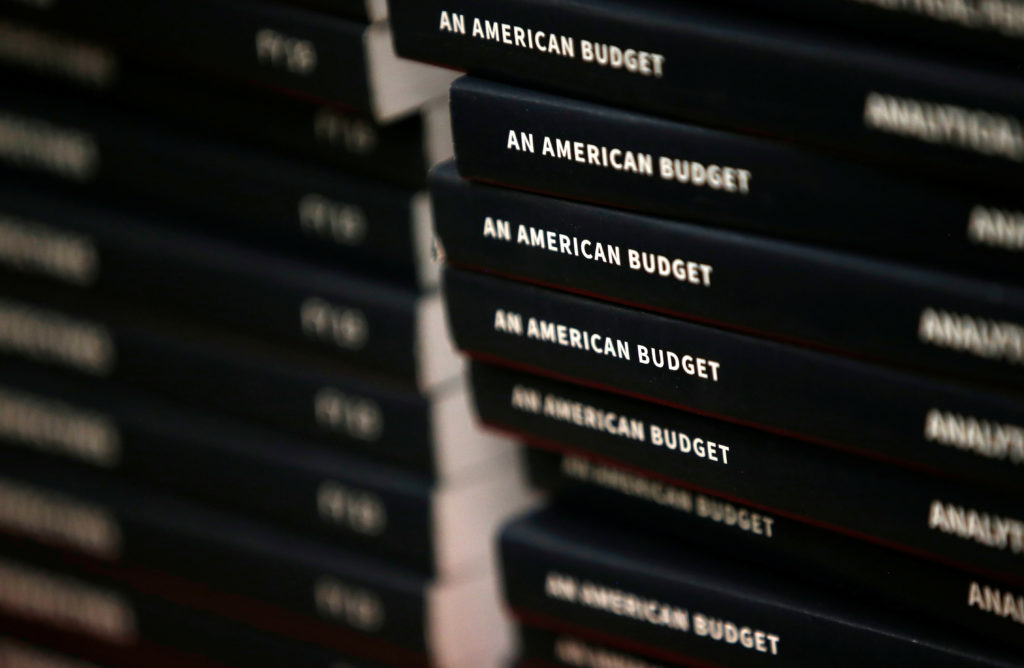 New copies of President Donald Trump's Budget for the U.S. Government for the Fiscal Year 2019 lay on a display table at the U.S. Government Publishing Office in Washington, D.C. Photo by Leah Millis/Reuters