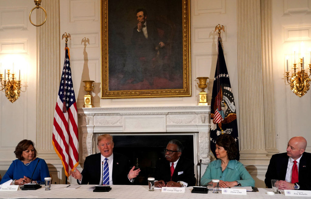 U.S. President Donald Trump holds a meeting on his infrastructure initiative at the White House in Washington, U.S., February 12, 2018. REUTERS/Kevin Lamarque - RC1113AB30F0